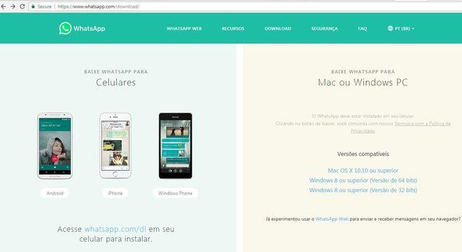 O Whatsapp também pode ser atualizado pelo site