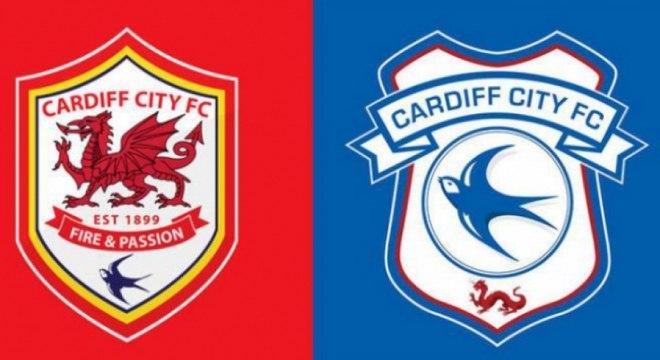 Cardiff City - O presidente do Cardiff City havia trocado a cor do escudo para vermelho, mas após protestos da torcida adotou novamente o azul