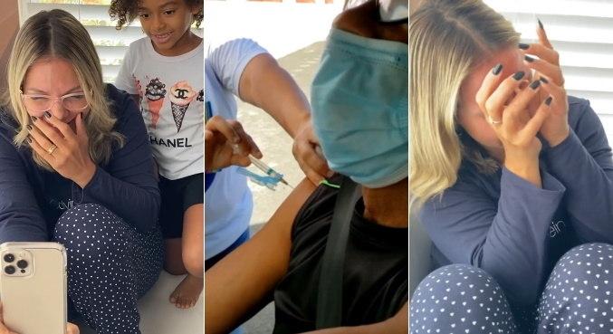 Com grande emoção, Carla Perez assistiu ao pai sendo vacinado contra a covid