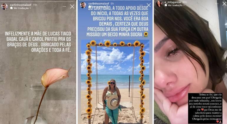 Carlinhos Maia e Emily Garcia lamentam morte da sogra