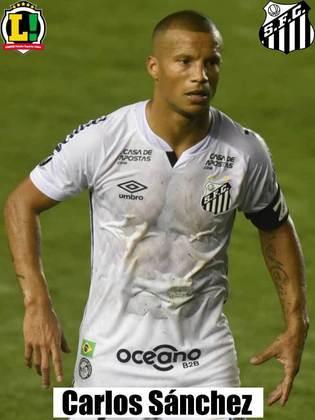 Carlos Sánchez - 7,5 - O maestro do time. Apareceu como centroavante para fazer o gol do Santos e ditou o ritmo do jogo.
