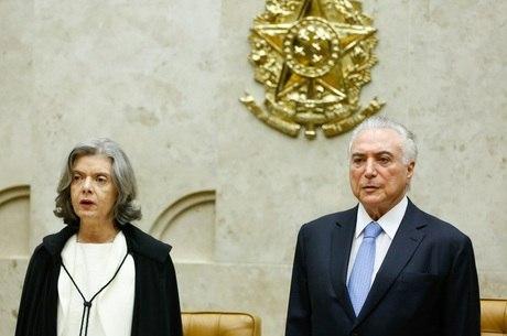 O presidente Temer e Cármen Lúcia na abertura do ano Judiciário