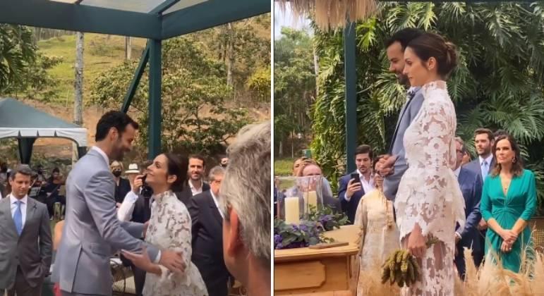 Sem a presença de Kaká, Carol Celico e Eduardo Scarpa se casam