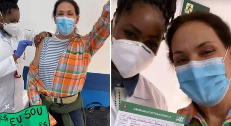 Carolina Ferraz recebeu a 1ª dose da vacina e comemorou
