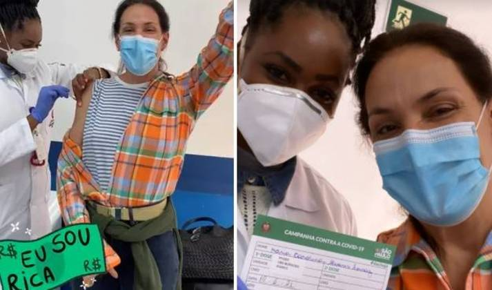 Carolina Ferraz, 53 anos, foi vacinada contra a covid-19 no dia 19 de junho. Nas redes sociais, a apresentadora doDomingo Espetacular, daRecord TV, recordou o meme