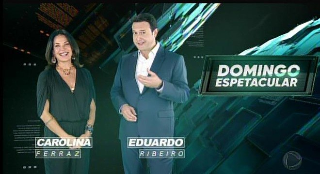 """Carolina Ferraz e Eduardo Ribeiro em chamada do """"Domingo Espetacular"""""""