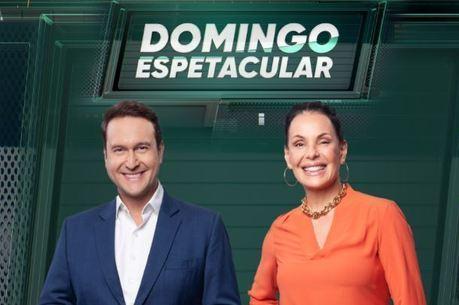 Carolina Ferraz e Eduardo Ribeiro com o novo logo do Domingo Espetacular