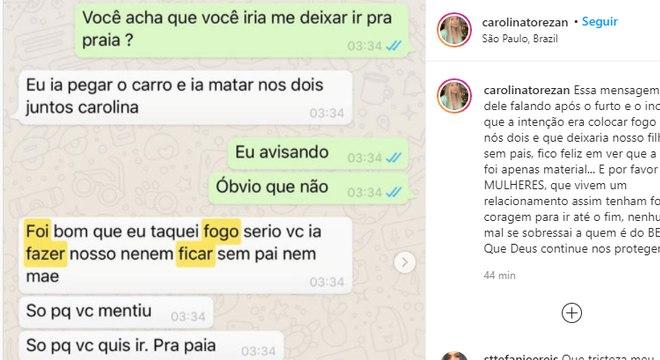 Carolina publicou troca de mensagens nesta segunda
