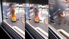 Dupla põe fogo em caminhão de gás e gera incêndio na Grande SP