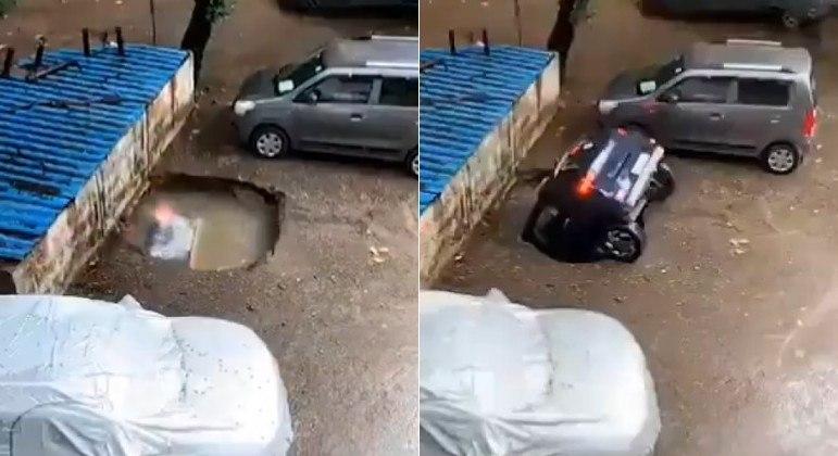 Carro foi tragado por poça após ocupar vaga de estacionamento em Mumbai, na Índia