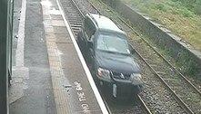 Homem dirige em ferrovia, causa transtorno gigante e acaba preso