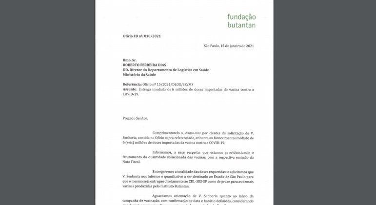 Resposta do Butantan ao Ministério da Saúde
