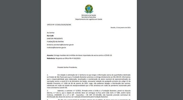 Resposta do Ministério da Saúde à resposta do Butantan