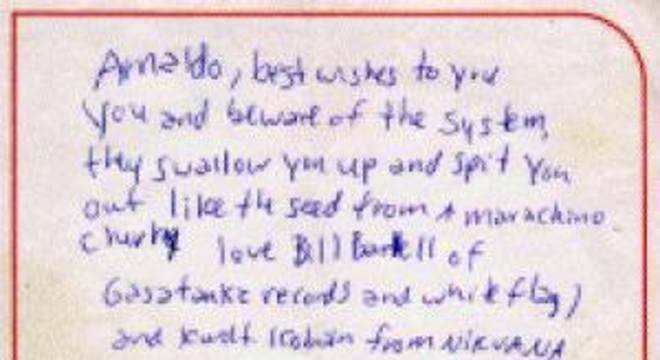 Carta de Kurt Cobain para Arnaldo Baptista