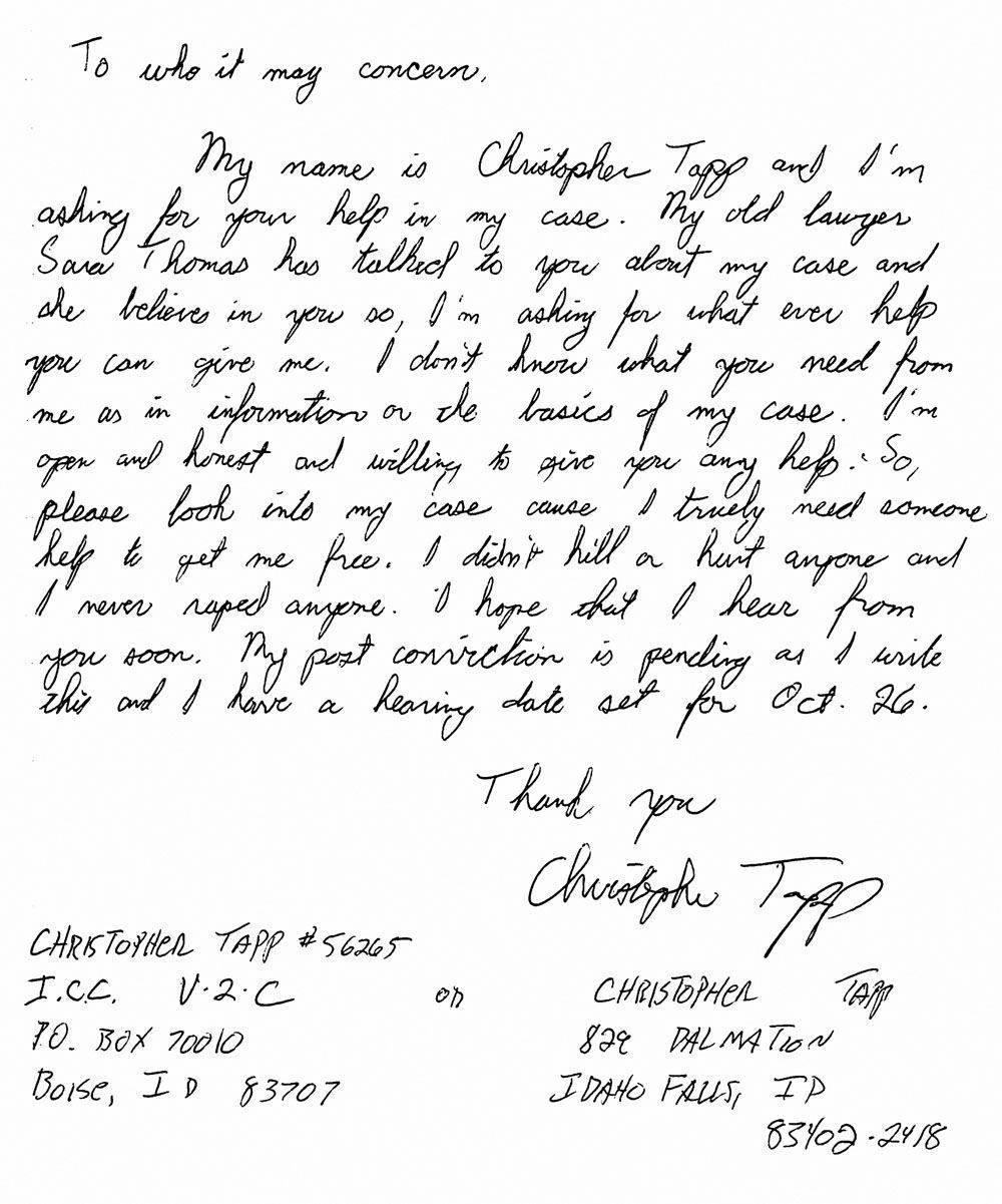 Christopher Tapp Tapp procurou ajuda especializada para provar sua inocência