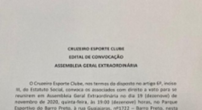 Carta enviada aos associados do Cruzeiro assinada pela presidência
