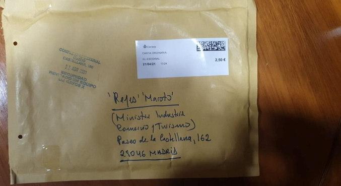 Envelope recebido por ministra espanhola