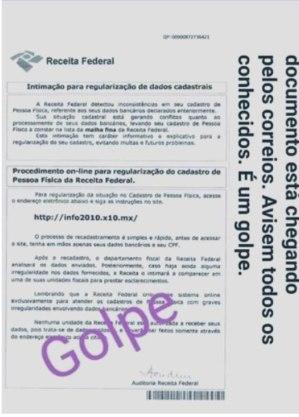 Modelo da carta falsa que está sendo enviada por golpistas
