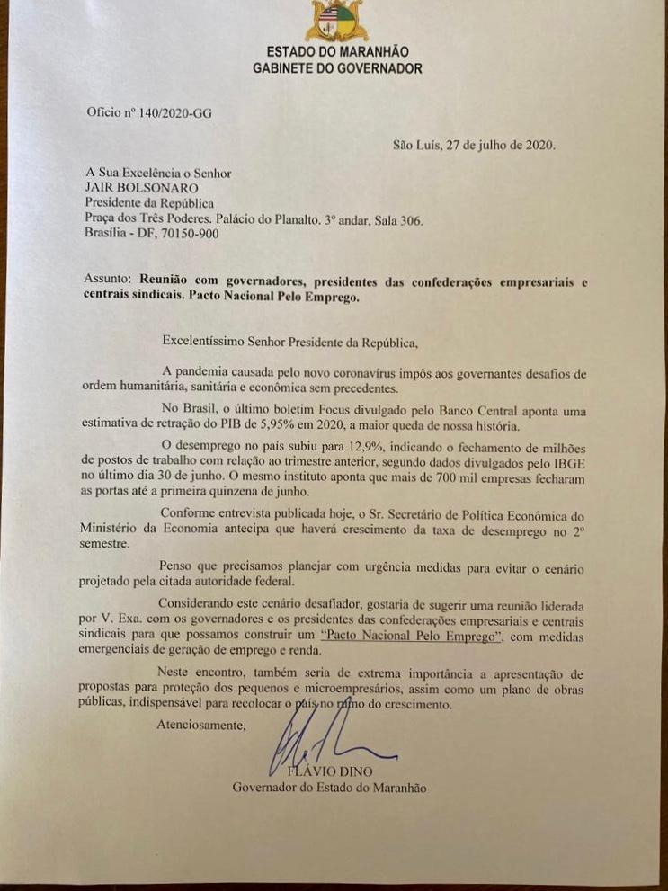 Carta enviada pelo governador Flavio Dino ao presidente Jair Bolsonaro