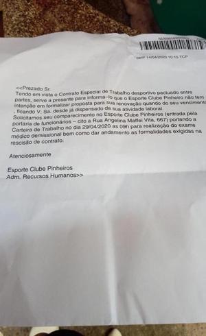 Carta do ECP ao time de basquete