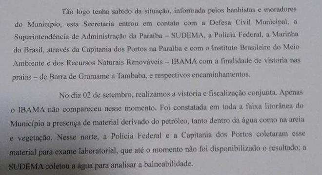 Carta que a Secretaria Municipal do Meio Ambiente de Conde (PB) enviou para o Ibama
