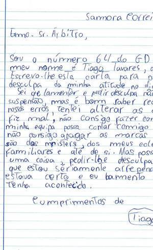 Na carta, Tiago se desculpa