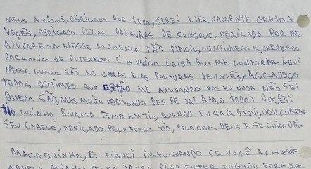 Walyson se comunica por cartas com parentes