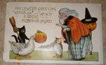 O cartão tem a temática de Halloween, e dizia: