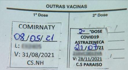 Cartão mostra vacinação com marcas diferentes