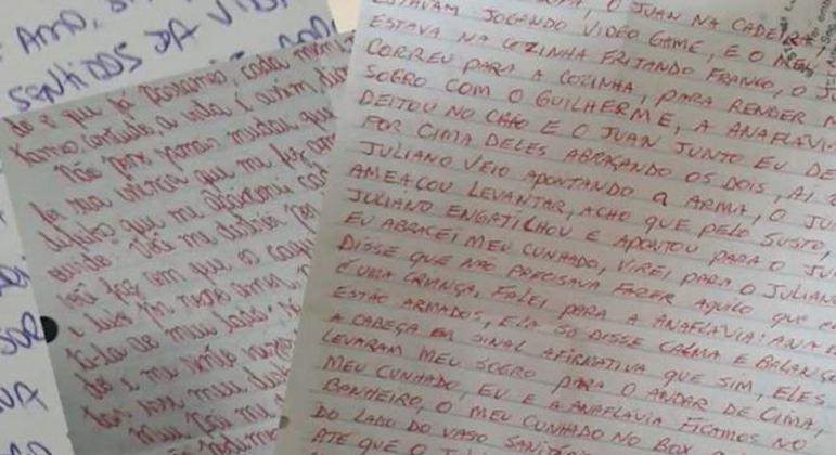 Cartas que Carina diz ter recebido de Anaflavia na prisão