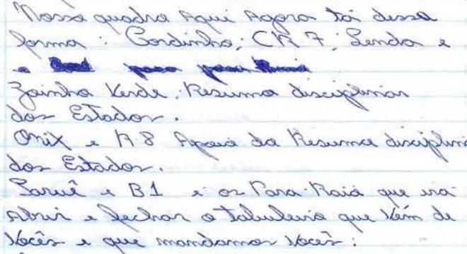 Carta aponta apelido de integrantes da facção criminosa