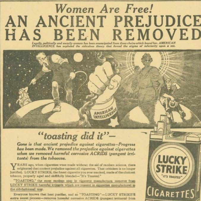 Cartaz da década de 20 ligava cigarro à ideia de um ato da liberdade feminina