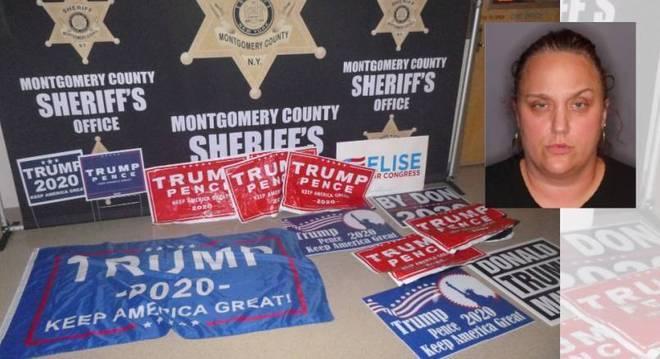 Imagem divulgada pela polícia mostra cartazes da campanha de Trump roubados