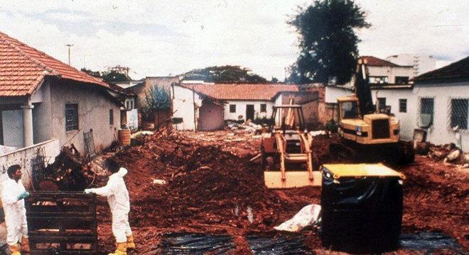 Casa demolida em decorrência de acidente nuclear em Goiânia