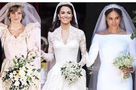 Qual o vestido mais bonito? O de Diana, o de Kate ou o de Meghan?