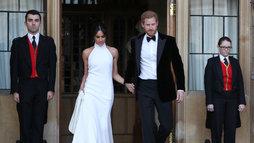Harry e Meghan trocam de roupa para nova recepção. Veja as fotos ()