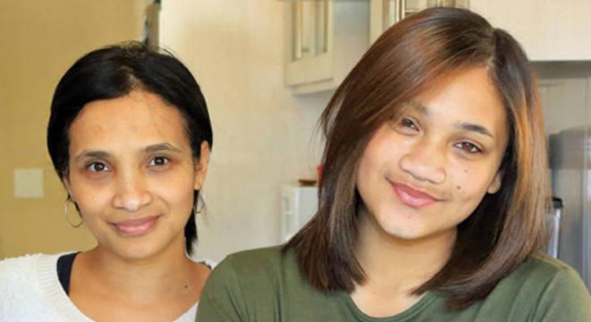 Mathibela Celeste Nurse (à esq.) e sua segunda filha, Cassidy; Miché diz ter tido dificuldades para construir relacionamento com família biológica