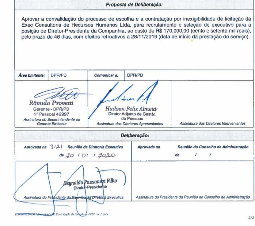 Assinatura do presidente da Cemig autorizando contratação de empresa que o escolheu