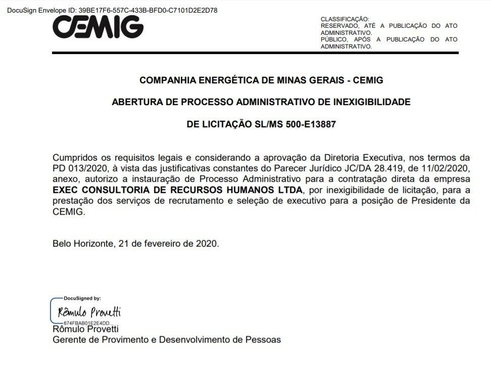 Em 21 de fevereiro, Cemig autorizou o contrato com a Exec