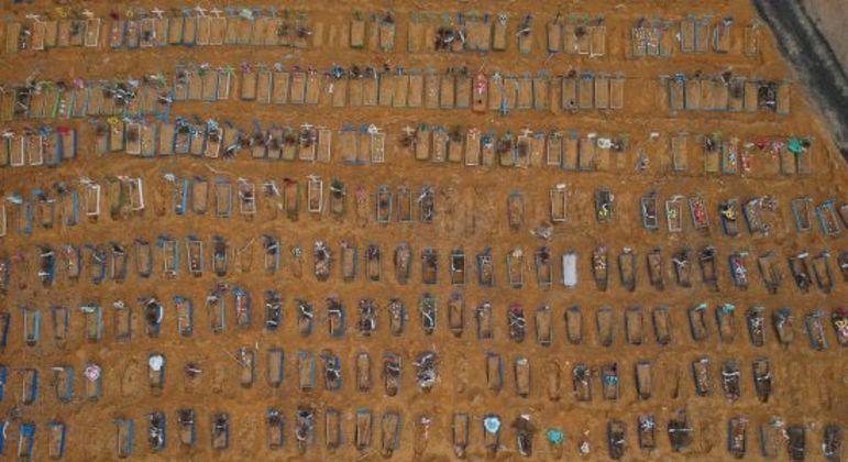 Cemitério de Manaus, uma das cidades do país onde a covid-19 mais deixou vítimas
