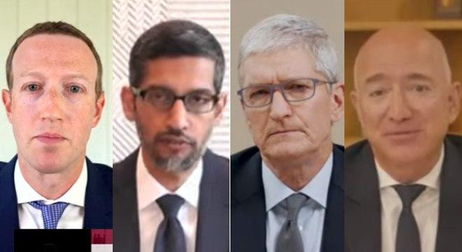 Mark Zuckerberg (Facebook), Sundar Pichai (Google), Tim Cook (Apple) e Jeff Bezos (Amazon)