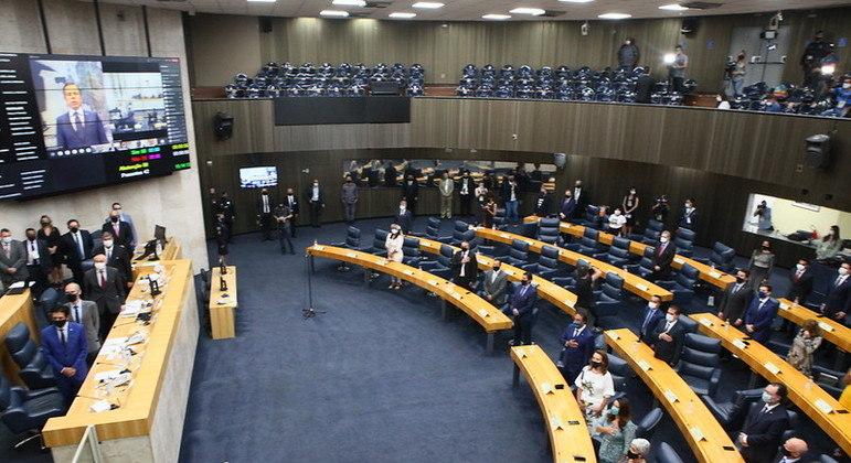 Cerimônia de posse dos vereadores em 1º de janeiro de 2021