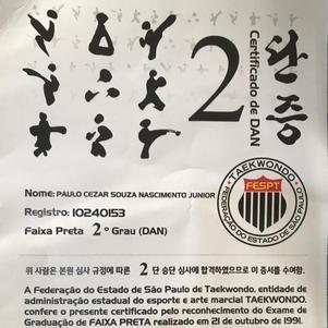 Certificado de graduação no taekwondo