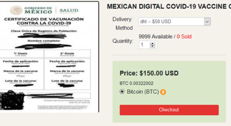 Certificado de vacinas para o México