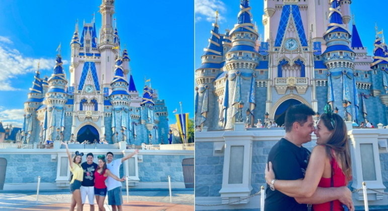É claro que eles não poderiam deixar de visitar também o icônico parque Magic Kingdom. Rolou até foto romântica de Cesar e Elaine na frente do castelo da Cinderela. O apresentador se declarou para a mulher: