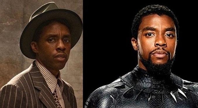 Chadwick Boseman em seu último filme (mais magro), e como Pantera Negra (à esq)