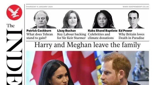 'Harry e Meghan deixam a família', destaca a chamada de capa do Independent