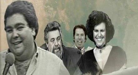 Fausto Silva, Ferreira Netto, Silvio Santos e Elis Regina no chamadão da Record