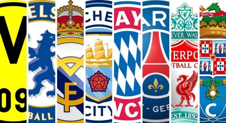 Os escudos dos oito clubes das quartas de final