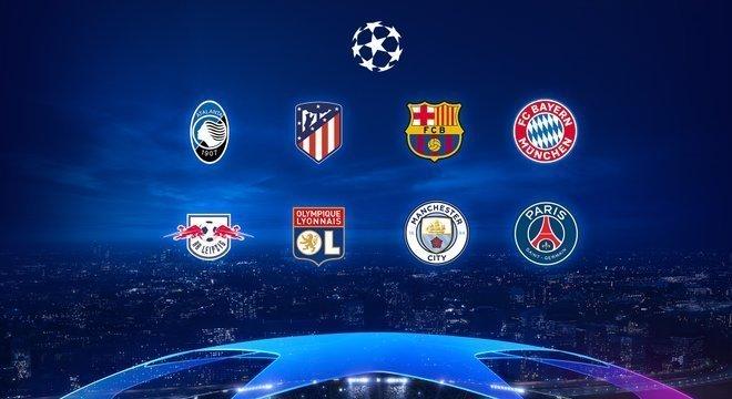 Os oito clubes das quartas de final  da Champions 2019/20